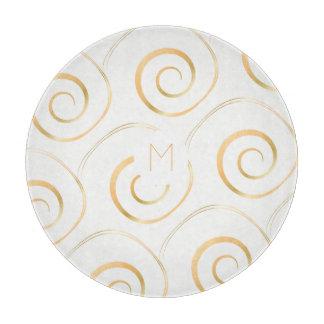 (Faux Gold) Spiral Monogram   Cutting Board