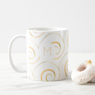 (Faux Gold) Spiral Monogram | Mug