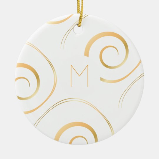 (Faux Gold) Spiral Monogram | Ornament