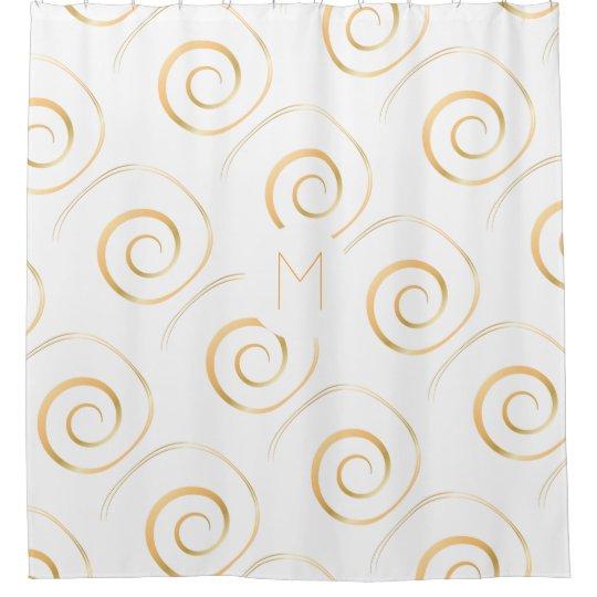 (Faux Gold) Spiral Monogram | Shower Curtain
