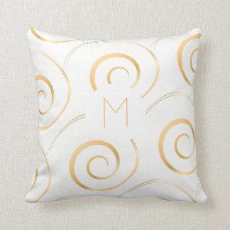 (Faux Gold) Spiral Monogram   Throw Pillow