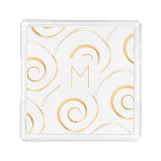 (Faux Gold) Spiral Monogram | Tray