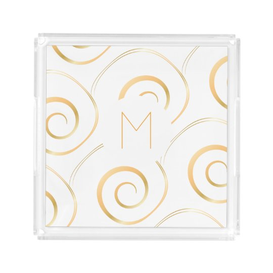 (Faux Gold) Spiral Monogram | Tray