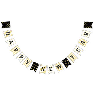 Faux Gold Stars Stripes Happy New Years Eve Party Bunting