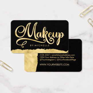 Faux Gold Swash on Black MAKEUP Artist Bizcards Business Card