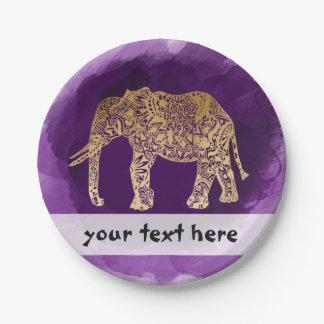 faux gold tribal elephant purple brushstroke paper plate