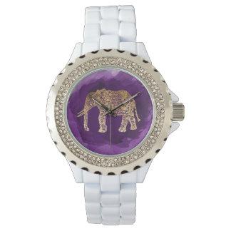 faux gold tribal elephant purple brushstroke watch