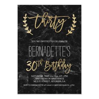 Faux gold typography black marble 30th Birthday 13 Cm X 18 Cm Invitation Card
