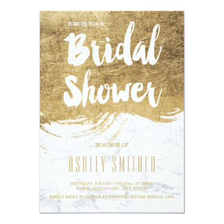 Faux gold typography brush marble bridal shower 13 cm x 18 cm invitation card