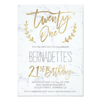 Faux gold typography feathers marble 21st Birthday 13 Cm X 18 Cm Invitation Card