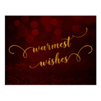 "Faux Gold Typography ""Warmest Wishes"" Over Red Postcard"