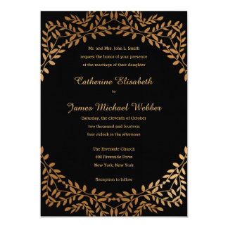 Faux Gold Wedding Invite Hosted by Bride's Parents