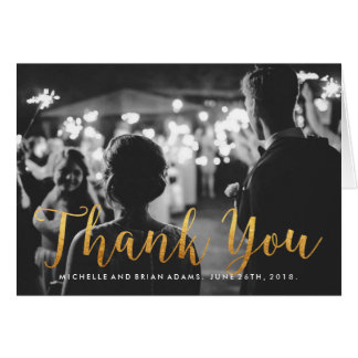 Faux Gold Wedding Photo Thank You Card