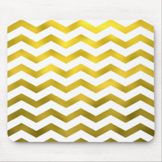 Faux Gold White Foil Chevron Zig Zag Striped Mouse Pad