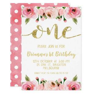 Birthday invitations announcements zazzle au faux gold word 1st birthday party invitation stopboris Choice Image