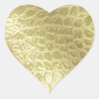Faux Golden Alligator Skin Heart Sticker