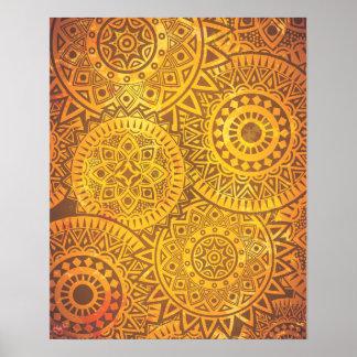 Faux Golden Suns pattern Print