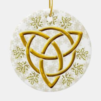 Faux Golden Tri-Quatra w/ Gold Snowflakes on White Ceramic Ornament
