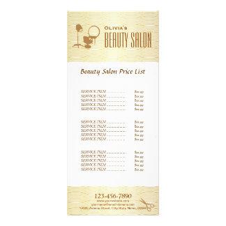 Faux Golden Wave Makeup Beauty Salon Price List Rack Card