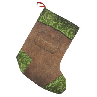 Faux Green Brown Monogram Leather Small Christmas Stocking