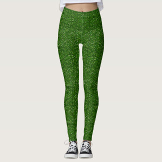 Faux Green Glitter And Glamour Leggings