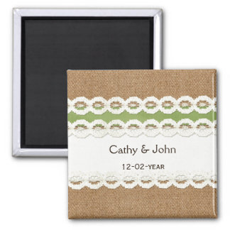 FAUX green lace and burlap wedding save the date Fridge Magnets