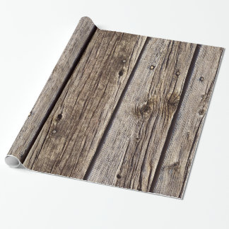 Faux Grey Weather-board Barn Siding Wrapping Paper