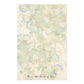 Faux Handmade Paper: Morning Glory Flowers Floral Stationery