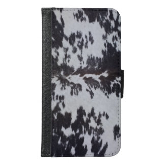 Faux Holstein Cow Leather Black And White Samsung Galaxy S6 Wallet Case