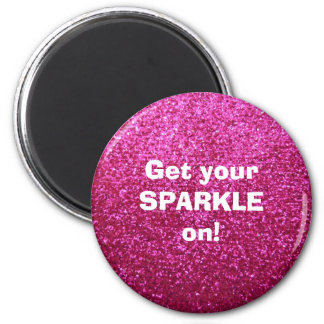Faux Hot Pink Glitter 6 Cm Round Magnet