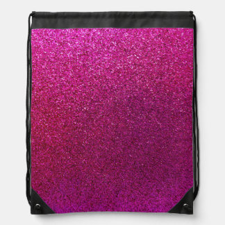 Faux Hot Pink Glitter Background Sparkle Drawstring Bag