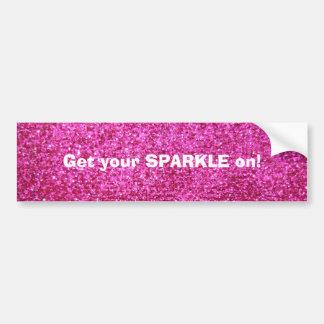 Faux Hot Pink Glitter Bumper Sticker