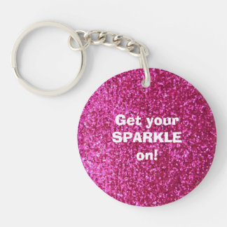 Faux Hot Pink Glitter Double-Sided Round Acrylic Key Ring