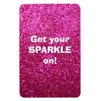 Faux Hot Pink Glitter Rectangular Photo Magnet