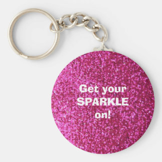 Faux Hot Pink Glitter Keychains