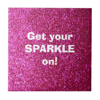 Faux Hot Pink Glitter Small Square Tile