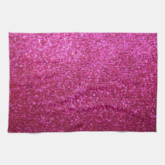 Faux Hot Pink Glitter Tea Towel