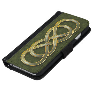 Faux Jade & Gold Double Infinity Symbol on Green iPhone 6 Wallet Case