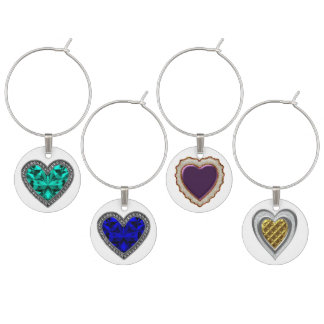 Faux Jewel Hearts Wine Charm Set