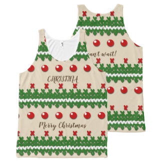 Faux Knitted Ugly Christmas Nostalgic Cream Design All-Over Print Singlet