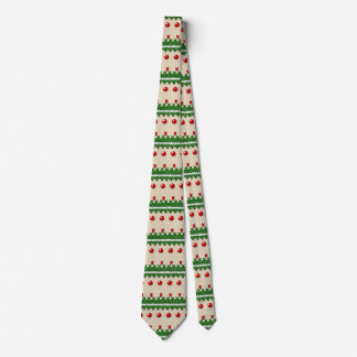 Faux Knitted Ugly Christmas Nostalgic Cream Design Tie