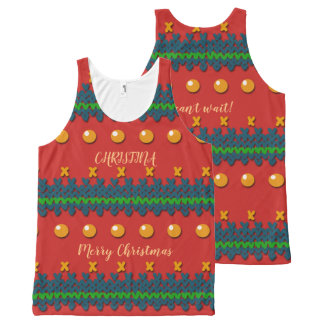 Faux Knitted Ugly Red Christmas Design All-Over Print Singlet