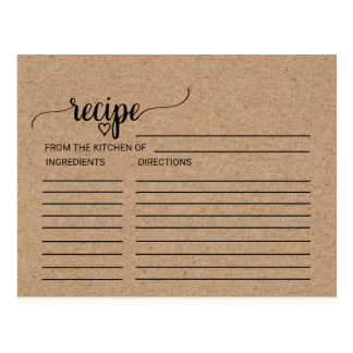 Faux Kraft Calligraphy Bridal Shower Recipe Cards