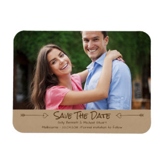 Faux Kraft Paper Photo Magnet Save The Date