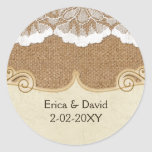 FAUX lace and burlap , wedding seals Classic Round Sticker