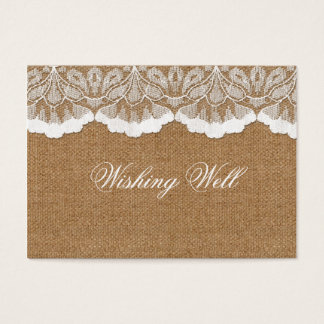 FAUX lace and burlap wishing well cards
