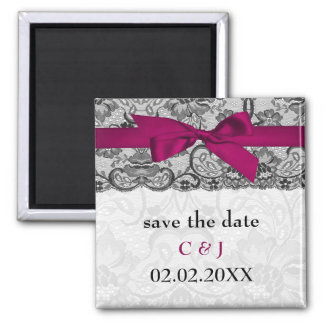 Faux lace and ribbon pink, black  save the date square magnet