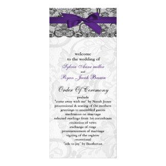 Faux lace and ribbon purple black wedding programs rack card
