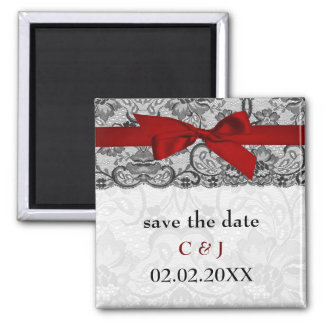 Faux lace and ribbon red, black  save the date square magnet