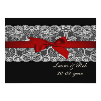 "Faux lace and ribbon red ,black  wedding Thank You 5"" X 7"" Invitation Card"